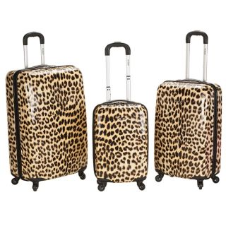 Rockland Designer Leopard 3 piece Lightweight Hardside Spinner Luggage
