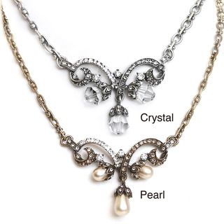 Sweet Romance Vintage Crystal or Glass Pearl Lavaliere Necklace