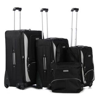Nautica Downhaul Black/ Light Grey 4 piece Luggage Set