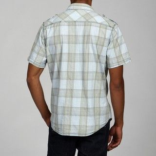 Pop Icon Mens Woven Plaid Button up Short sleeve Shirt