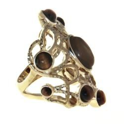 Adee Weiss Goldtone Tigers Eye Cutout Ring
