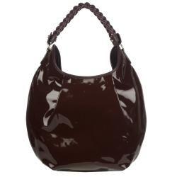 Salvatore Ferragamo Burgundy Patent Leather Hobo Bag