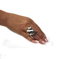 Adee Waiss 18k Gold Overlay Black and White Jasper Ring