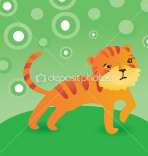 Vector cute cartoon tiger  Stock Vector © venimo #1708801