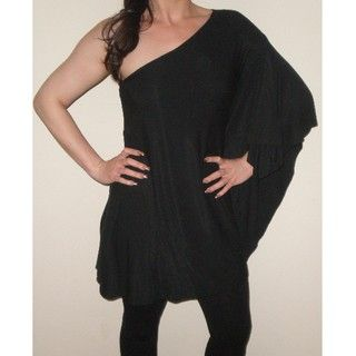 Arty Womens Black One shoulder Flutter sleeve Top
