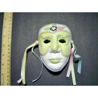 Ceramic Mardi Gras Face Mask for Wall   204 Green Everything Else