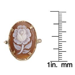 14k Yellow Gold Hand carved Shell Sardonyx Cameo Ring