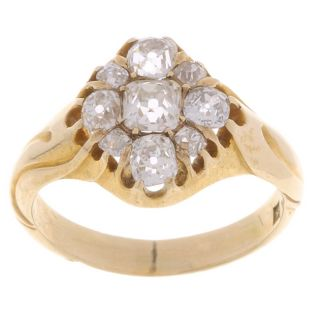 14k Yellow Gold 3 ct Old Mine Diamond Antique Ring