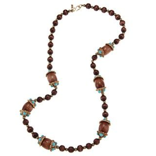 Kenneth Jay Lane Wood and Brass Beaded Necklace