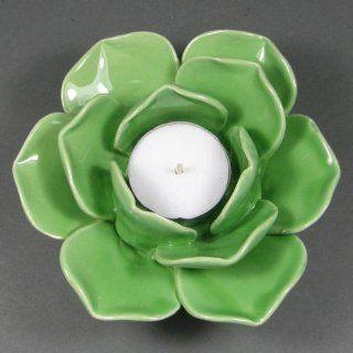 Glazed Ceramic Lotus Tealight Candle Holder, Green
