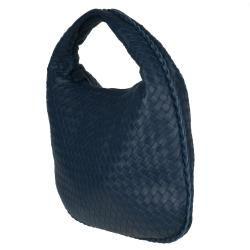 Bottega Veneta Small Navy Blue Leather Hobo Bag