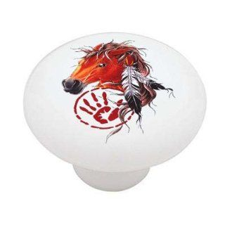 Native American Indian Horse Decorative High Gloss Ceramic Drawer Knob