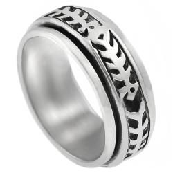 Tressa Sterling Silver Mens Fish Skeleton Spinner Ring