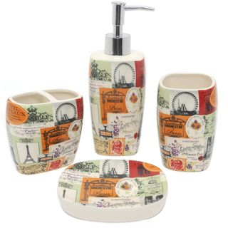 Paris Cafe Ceramic 4 piece Bath Accessory Set