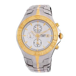 Pulsar Mens Alarm Chronograph Two tone Watch