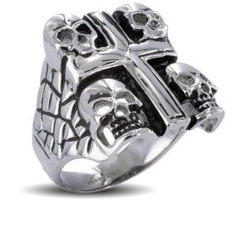 Stainless Steel Mens Skull and Cross Ring