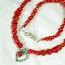 Peyote Bird Designs Sterling Silver Red Bamboo Heart Necklace
