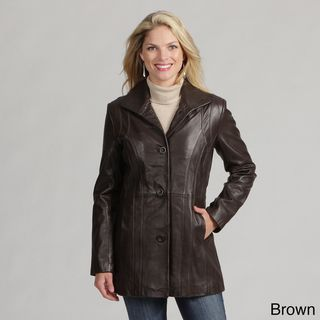 Izod Womens New Zealand Lamb Leather Coat