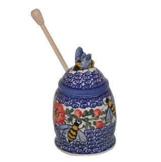 New Polish Pottery UNIKAT HONEY JAR Boleslawiec Pattern