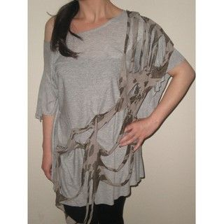 Arty Womens Grey Printed Off shoulder Top