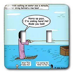 Rich Diesslins Funny Cartoon Gospel Cartoons   Jesus   Water Skiing