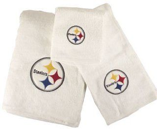 Pittsburgh Steelers NFL WHITE 3 Piece Bath Towel Set New
