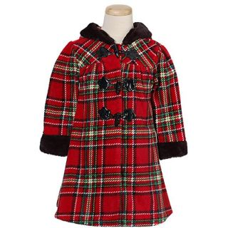 Bonnie Jean Girls Red Plaid Hooded Fleece Coat