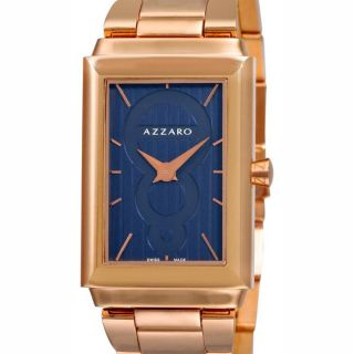 Azzaro Mens Legend Rectangular Rose Gold PVD Blue Face Watch