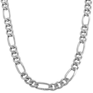 14k White Gold Solid 9.6mm Figaro Link Necklace (20 24 inches