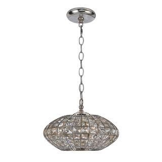 Transitional Antique Silver 3 Light Crystal Pendant Light Fixture