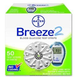 Bayer Breeze 2 Diabetic Test Strips   Box of 50   ASCENSIA