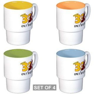 Stackable Coffee Mugs (4) 333 Only Half Bad with Angel
