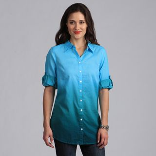 Live A Little Womens Turquoise Ombre Button down Tunic