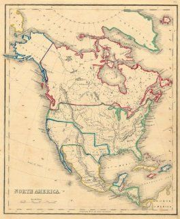 Whyte 1840 Antique Map of North America Office Products