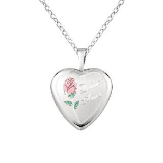 Sterling Silver Rose and Quince Anos Heart shaped Locket Necklace