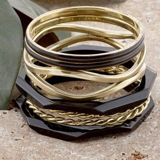 Set of 7 Brass and Wood Black and Gold Skies Bangle Bracelets (India