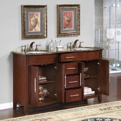 Silkroad Exclusive Double Sink 58 inch Granite Top Vanity Cabinet