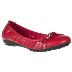 Riverberry Womens OK Red Buckle Sequin Flats