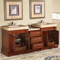 Silkroad Exclusive Travertine Top 83 inch Double Sink Vanity Cabinet