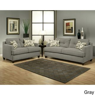 Nicolas 2 piece Micro Denier Fabric Sofa and Loveseat Set
