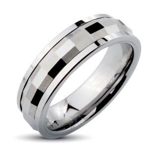 Mens Tungsten Carbide Multi faceted Rectangle Spinner Ring (6 mm