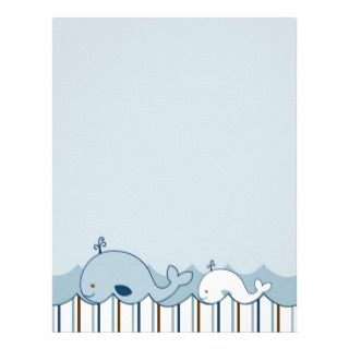 Nautical Whale Baby Shower Stationery Letterhead