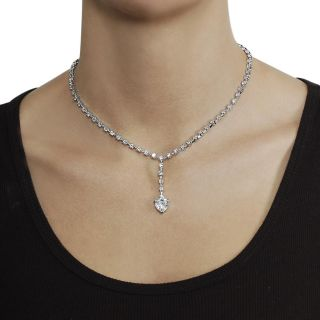 Journee Collection Silvertone Cushion cut CZ Drop Necklace