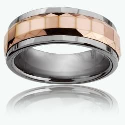 Mens Tungsten Carbide Rose Gold Multi faceted Square Spinner Ring (8