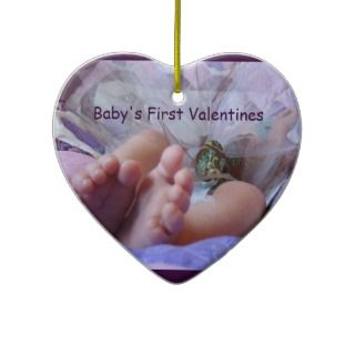 Babys First Valentines gifts Ornament Baby Feet