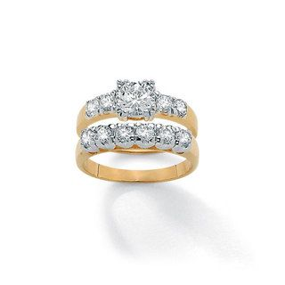 Ultimate CZ 14k Gold Overlay Round cut Cubic Zirconia Bridal Ring Set