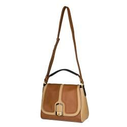 Fendi Anna Two tone Leather Shoulder Bag