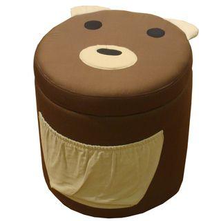 Kinfine Kids Bear Design Round Storage Ottoman