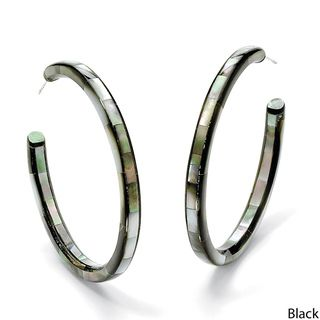 Angelina DAndrea Mother of Pearl Hoop Pierced Earrings