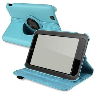 BasAcc Light Blue Leather Swivel Case for Barnes & Noble Nook HD